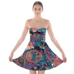 Steampunk Abstract Strapless Bra Top Dress