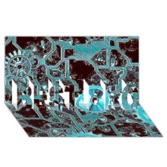 Steampunk Gears Turquoise Best Bro 3d Greeting Card (8x4)