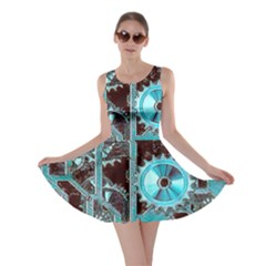 Steampunk Gears Turquoise Skater Dresses