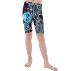 Steampunk Gears Turquoise Kid s swimwear