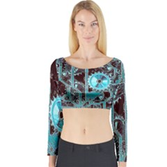 Steampunk Gears Turquoise Long Sleeve Crop Top