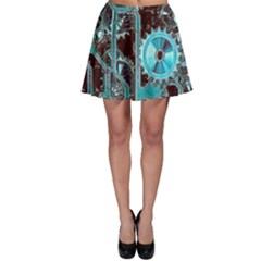Steampunk Gears Turquoise Skater Skirts