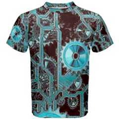Steampunk Gears Turquoise Men s Cotton Tees