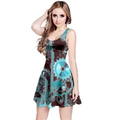 Steampunk Gears Turquoise Reversible Sleeveless Dresses