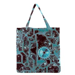 Steampunk Gears Turquoise Grocery Tote Bags