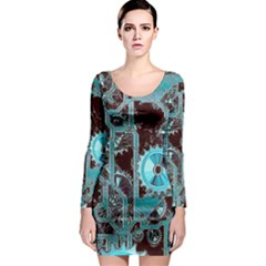Steampunk Gears Turquoise Long Sleeve Bodycon Dresses