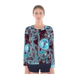 Steampunk Gears Turquoise Women s Long Sleeve T Shirts