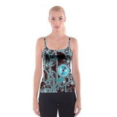 Steampunk Gears Turquoise Spaghetti Strap Tops