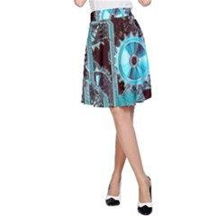 Steampunk Gears Turquoise A-Line Skirts