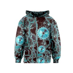 Steampunk Gears Turquoise Kid s Pullover Hoodies