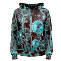 Steampunk Gears Turquoise Women s Pullover Hoodies
