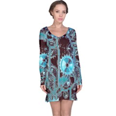 Steampunk Gears Turquoise Long Sleeve Nightdresses