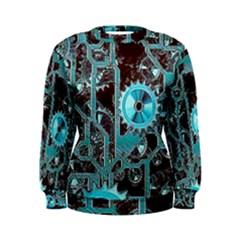 Steampunk Gears Turquoise Women s Sweatshirts