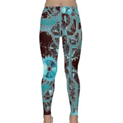 Steampunk Gears Turquoise Yoga Leggings