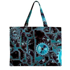 Steampunk Gears Turquoise Zipper Tiny Tote Bags