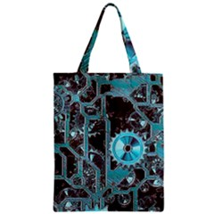 Steampunk Gears Turquoise Zipper Classic Tote Bags