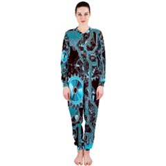 Steampunk Gears Turquoise OnePiece Jumpsuit (Ladies)