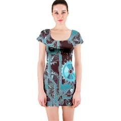 Steampunk Gears Turquoise Short Sleeve Bodycon Dresses