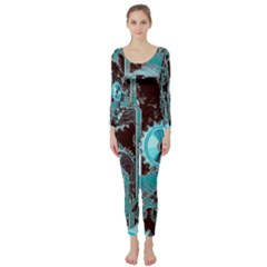 Steampunk Gears Turquoise Long Sleeve Catsuit