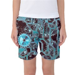 Steampunk Gears Turquoise Women s Basketball Shorts