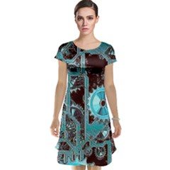 Steampunk Gears Turquoise Cap Sleeve Nightdresses