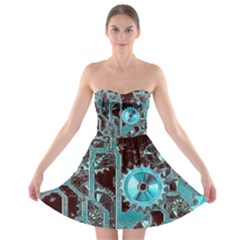 Steampunk Gears Turquoise Strapless Bra Top Dress