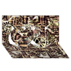 Steampunk 4 Soft Twin Hearts 3D Greeting Card (8x4)