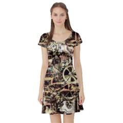 Steampunk 4 Soft Short Sleeve Skater Dresses