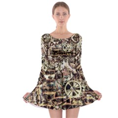 Steampunk 4 Soft Long Sleeve Skater Dress