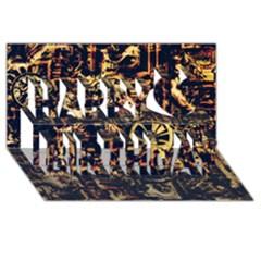 Steampunk 4 Happy Birthday 3d Greeting Card (8x4)