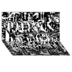 Steampunk Bw Happy Birthday 3d Greeting Card (8x4)