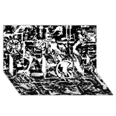 Steampunk Bw PARTY 3D Greeting Card (8x4)