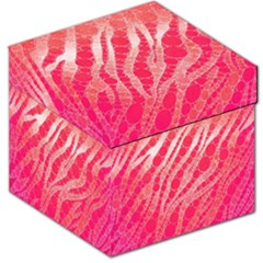 Florescent Pink Zebra Pattern  Storage Stool 12