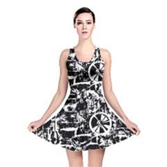 Steampunk Bw Reversible Skater Dresses