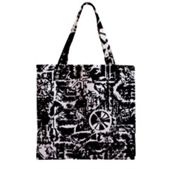 Steampunk Bw Zipper Grocery Tote Bags