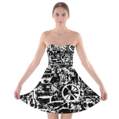 Steampunk Bw Strapless Bra Top Dress