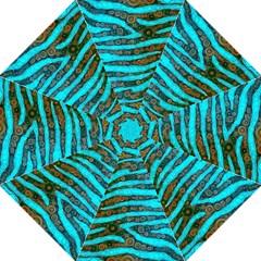 Turquoise Blue Zebra Abstract  Straight Umbrellas