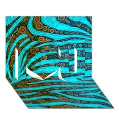 Turquoise Blue Zebra Abstract  I Love You 3d Greeting Card (7x5)