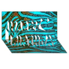 Turquoise Blue Zebra Abstract  Happy Birthday 3D Greeting Card (8x4)