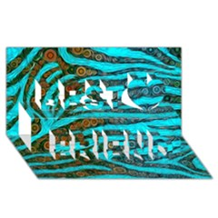Turquoise Blue Zebra Abstract  Best Friends 3d Greeting Card (8x4)
