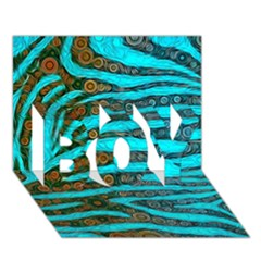 Turquoise Blue Zebra Abstract  Boy 3d Greeting Card (7x5)