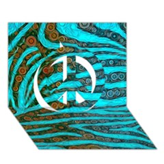 Turquoise Blue Zebra Abstract  Peace Sign 3D Greeting Card (7x5)