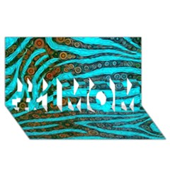 Turquoise Blue Zebra Abstract  #1 MOM 3D Greeting Cards (8x4)