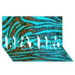 Turquoise Blue Zebra Abstract  BEST BRO 3D Greeting Card (8x4)