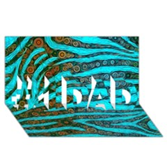 Turquoise Blue Zebra Abstract  #1 Dad 3d Greeting Card (8x4)