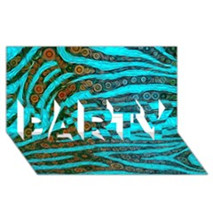 Turquoise Blue Zebra Abstract  PARTY 3D Greeting Card (8x4)