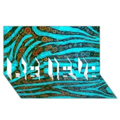 Turquoise Blue Zebra Abstract  Believe 3d Greeting Card (8x4)