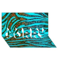 Turquoise Blue Zebra Abstract  SORRY 3D Greeting Card (8x4)