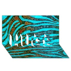 Turquoise Blue Zebra Abstract  Hugs 3d Greeting Card (8x4)