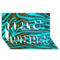 Turquoise Blue Zebra Abstract  Best Wish 3D Greeting Card (8x4)